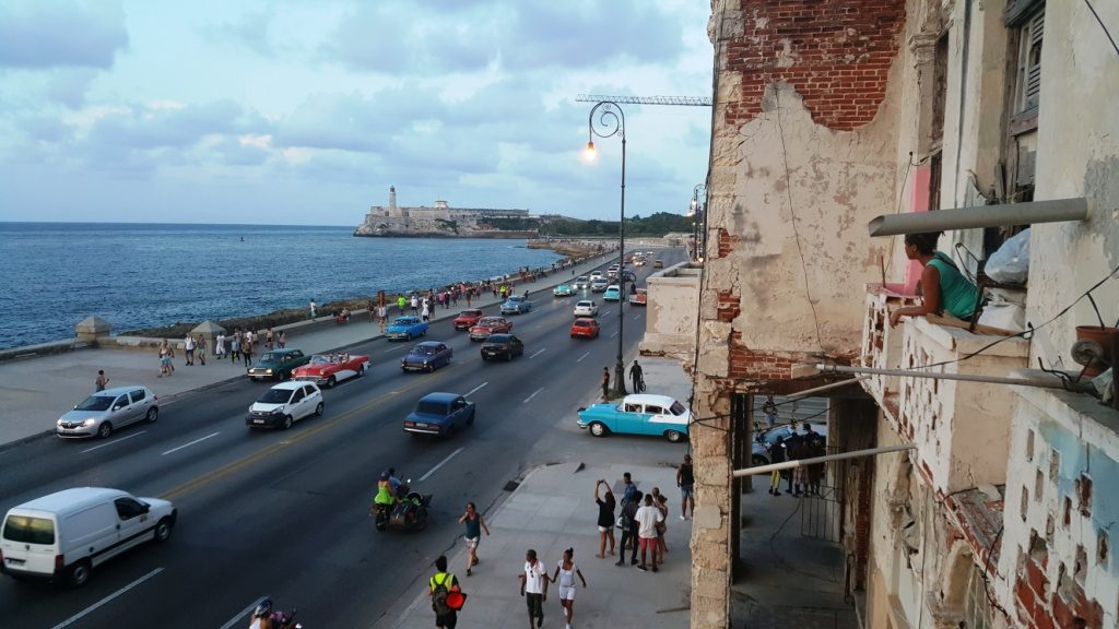 the Malecon from the terrace of Castropol restaurant